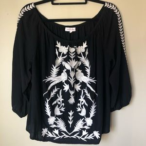 OFF SHOULDER IVORY EMBROIDERED BLACK BLOUSE SZ L